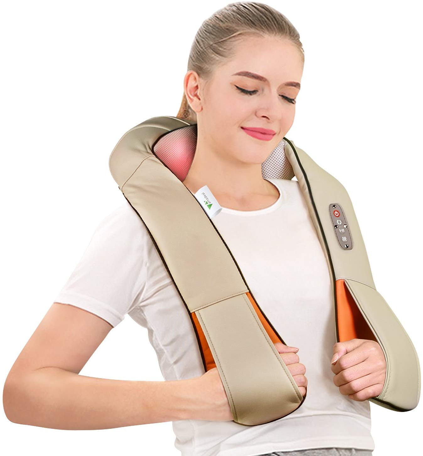 AMZDEAL Neck Shoulder Massage Kneading Electric Shiatsu Massager With Heat Deep Issue