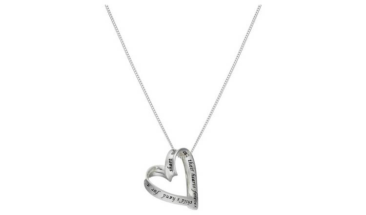 Moon & Back Silver Heart 'Mum' Pendant 18 Inch Necklace at Argos