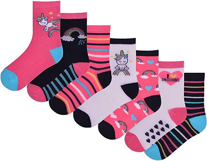 Girls 7 Pairs Ankle Socks