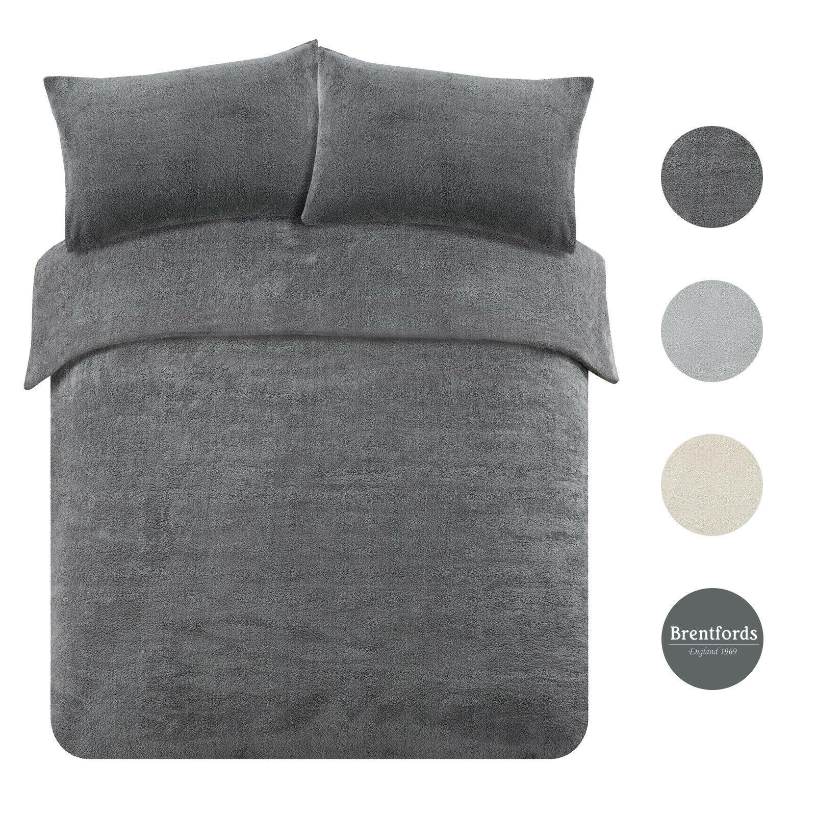 Brentfords Teddy Fleece Duvet Cover with Pillow Case Thermal Warm Bedding Set on ebay