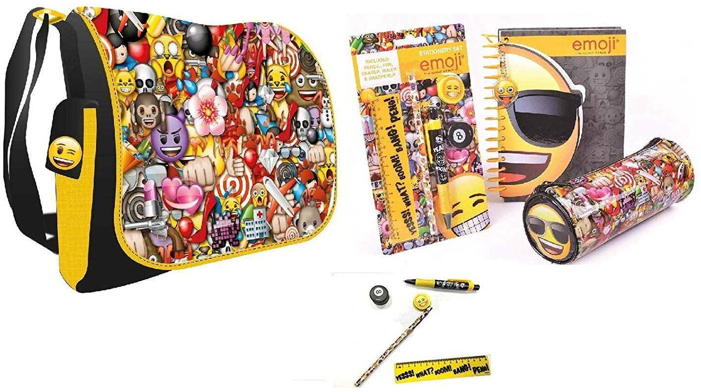 Emoji Die Cut Note, Pencil Case and Stationery Set and Emoji Messenger Shoulder Bag