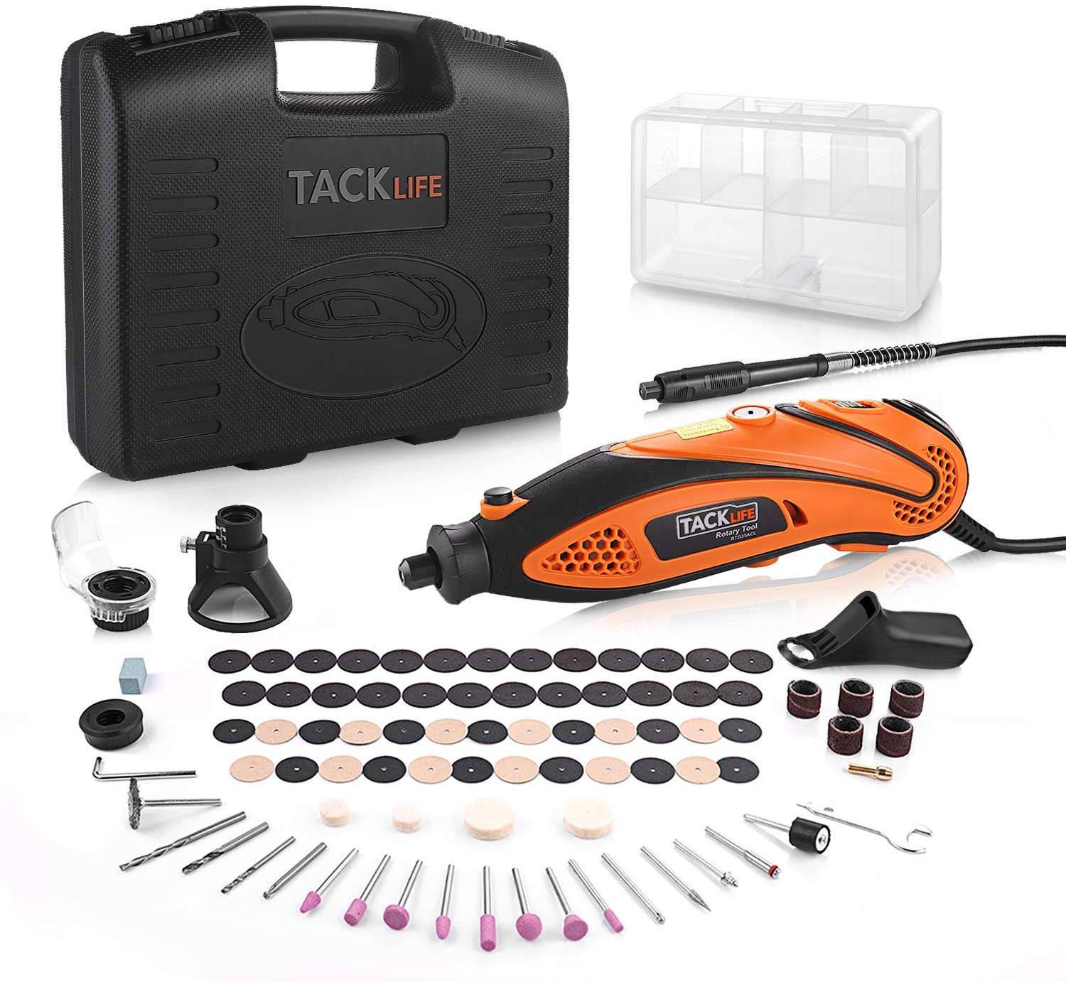 Rotary Tool Tacklife 135W Multi-Functional Tool with 80 Accessories Kit and 4 Attachments