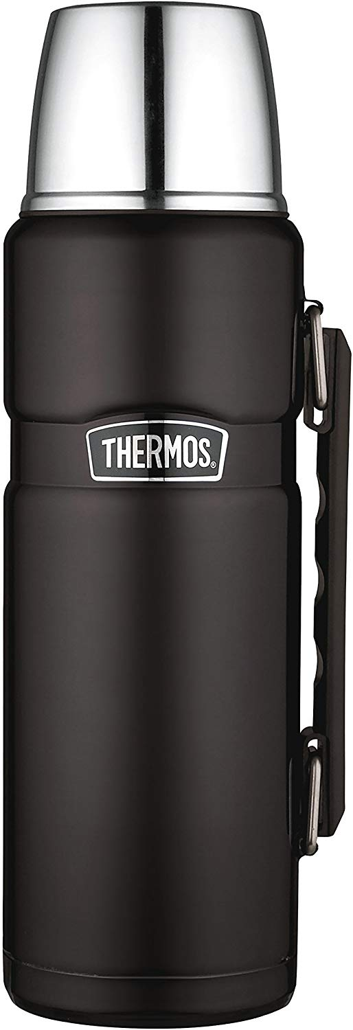 Thermos Stainless King Flask, Matt Black, 1.2 L