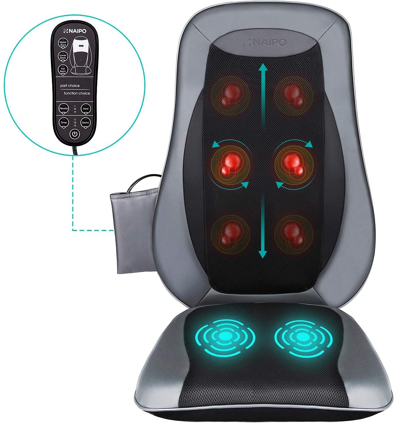 Naipo Shiatsu Back Massager Massage Chair Seat Cushion with Heat and Vibration Function