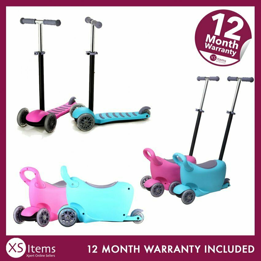 50% off Kids 3 in 1 Push Scooter T-Bar Tilt Removeable Seat Storage Flashing LED Wheels