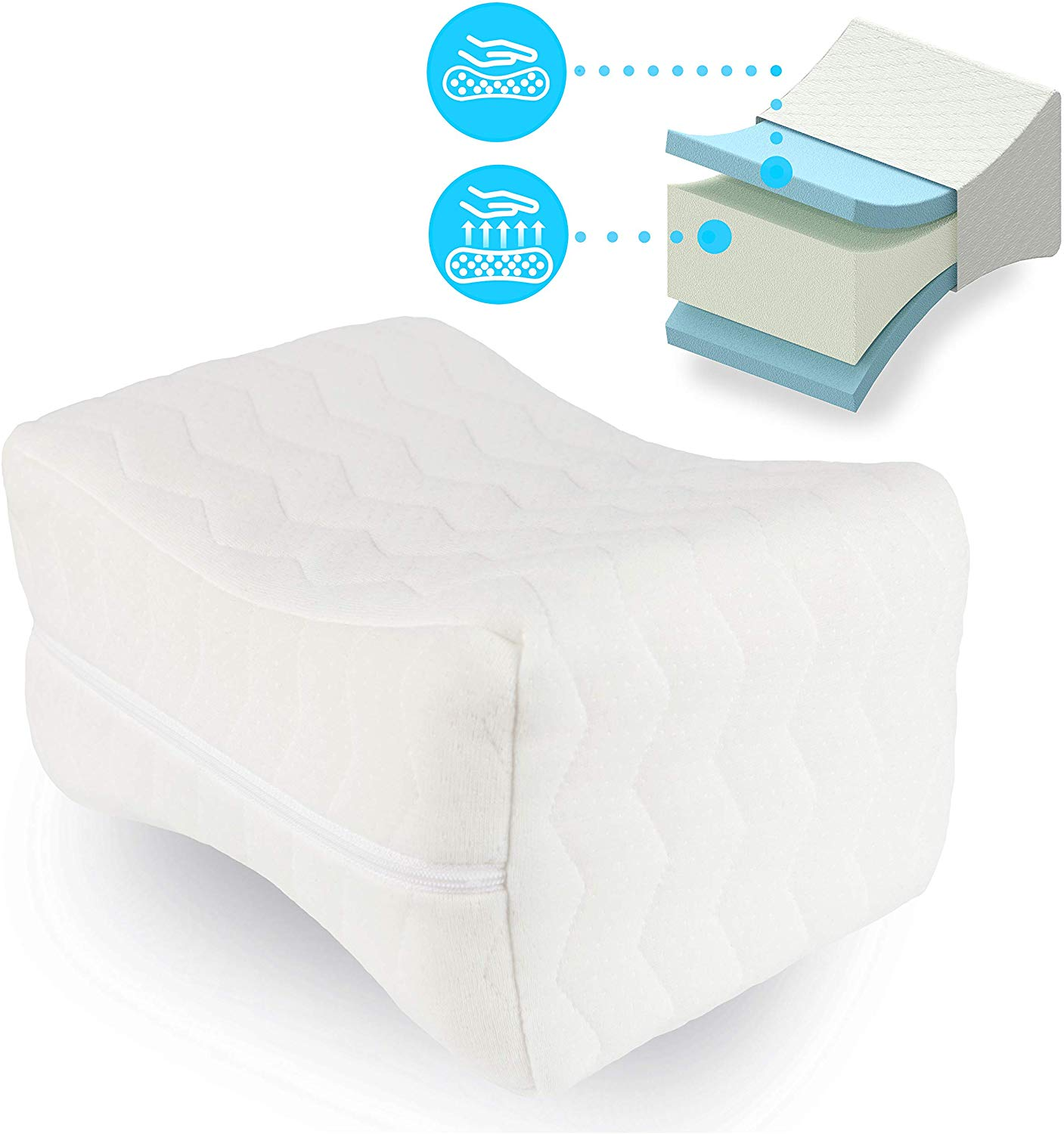 AR-relax Knee pillow Memory foam leg cushion support – Relief in sciatica, lower back, hips, legs and joint pain – Pillow