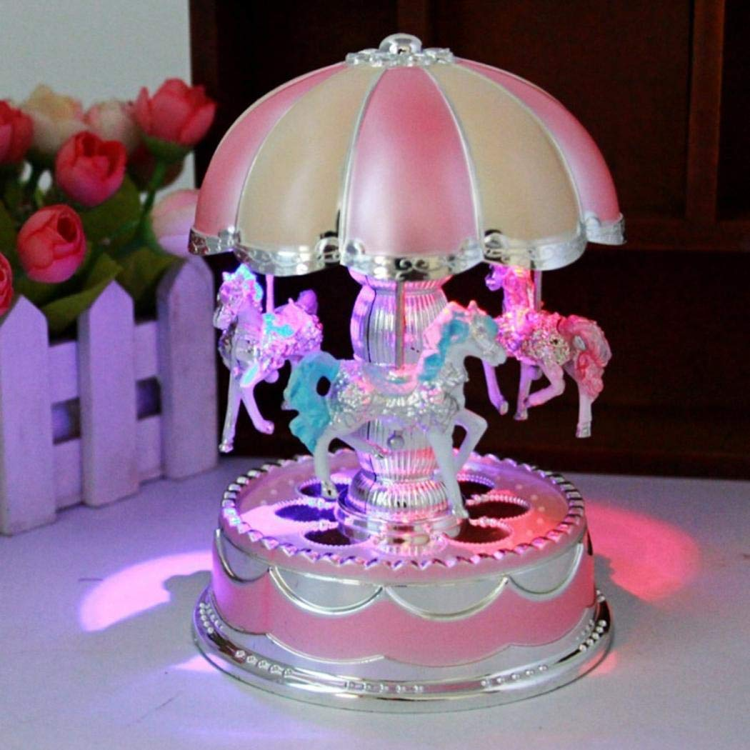 80% off Acecoree Beautiful LED Light Glow Merry-Go-Round Music Box Home Decoration