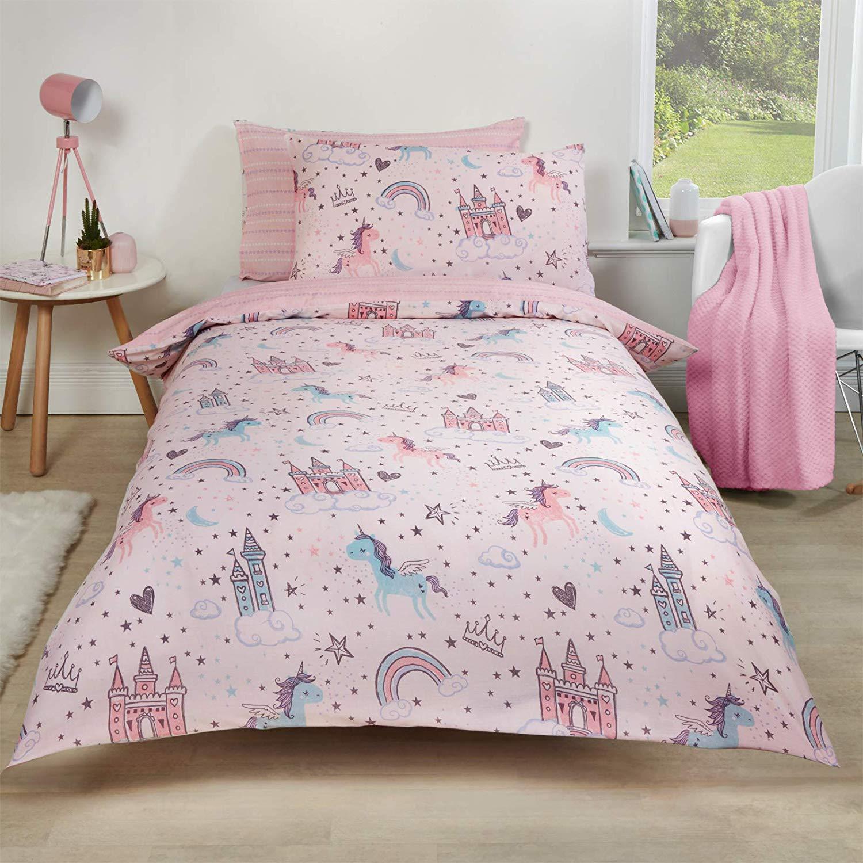 Dreamscene Unicorn Kingdom Duvet Cover with Pillow Case Reversible Star Stripe Bedding Set