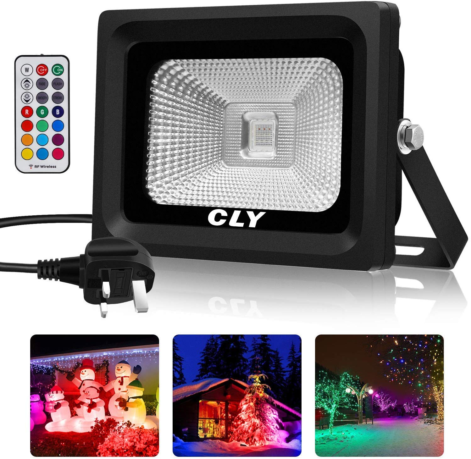 CLY RGB Flood Light with Remote Control, 4 Modes 16 Colours Spotlights IP66 Waterproof Pond Lights,10W