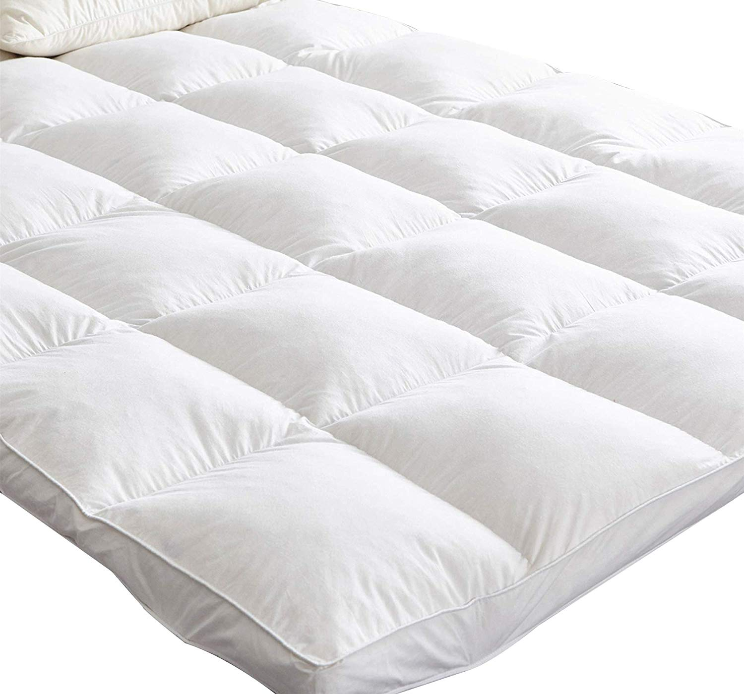 Mattress Topper King Size – 7cm Extra Thick Soft White Goose Feather and Down Bed Topper