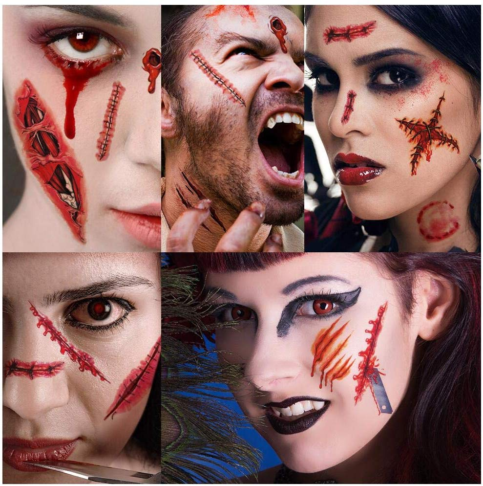 Halloween Tattoo, Halloween Makeup Kit, Zombie Make Up Fake Blood, Vampire Zombie Makeup Face Blood