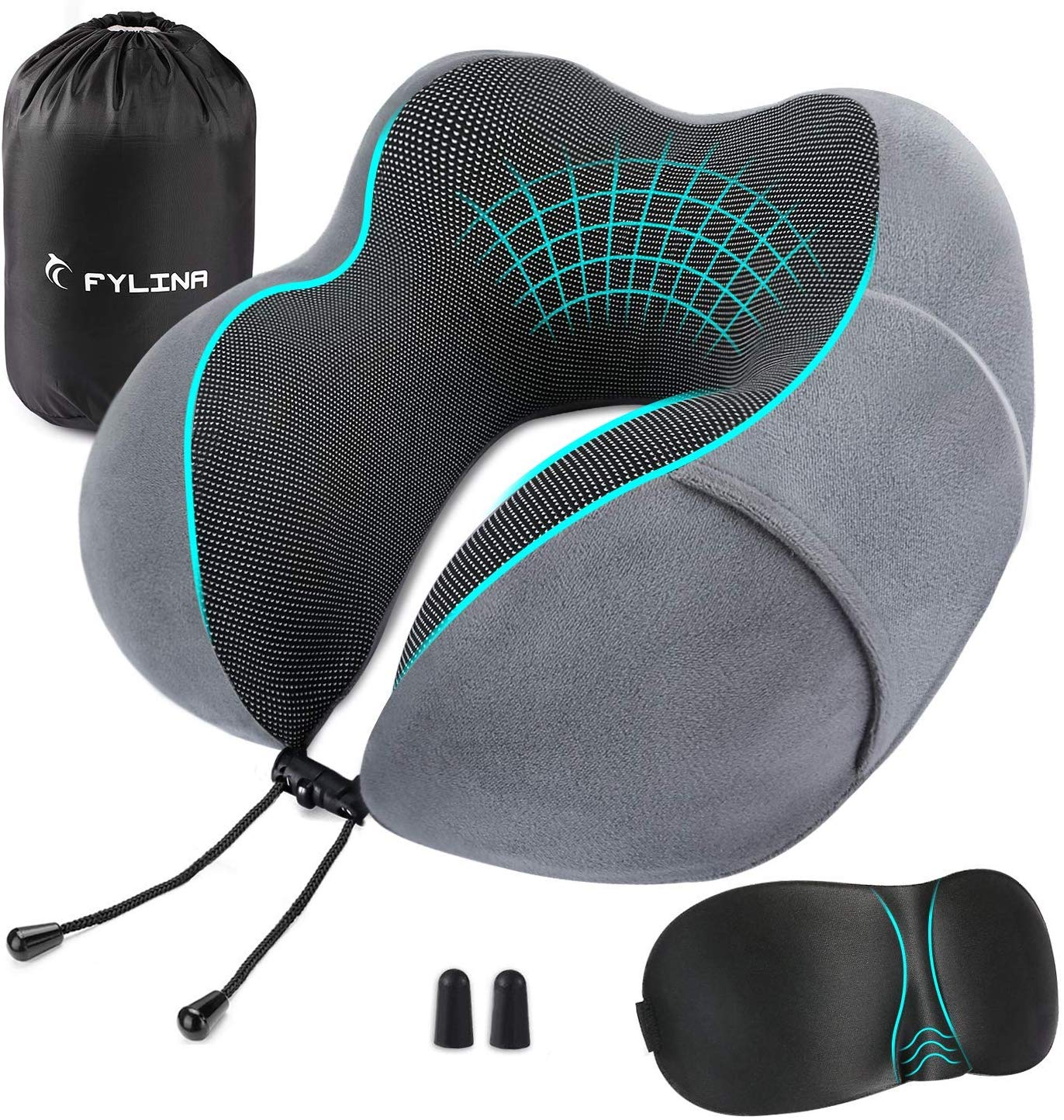 Memory Foam Neck Pillow with Carry Case, Eye Mask and Ear Plugs