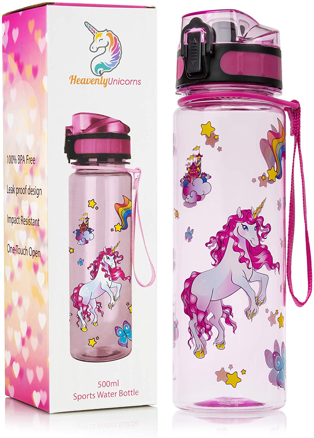 HeavenlyUnicorns Kids Unicorn Water Bottles, BPA Free, 500ml