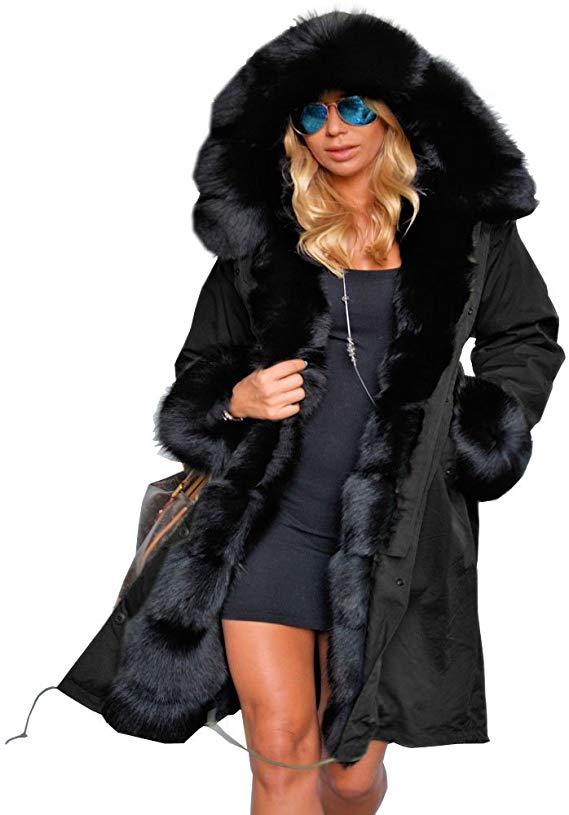 Roiii Women Winter Warm Thick Faux Fur Coat Hood Parka Long Jacket Size 8-18