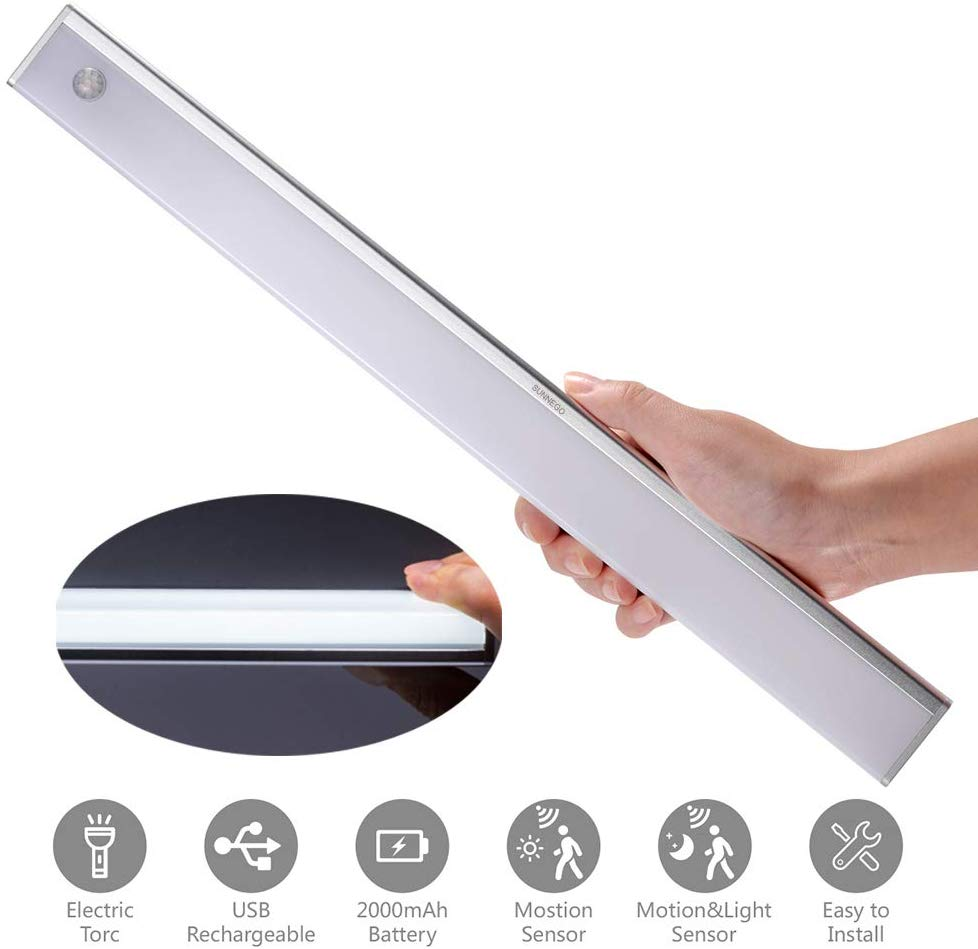 LED Under Cabinet Light,Cupboard Wardrobe Light Rechargeable USB Battery Lighting Lamps