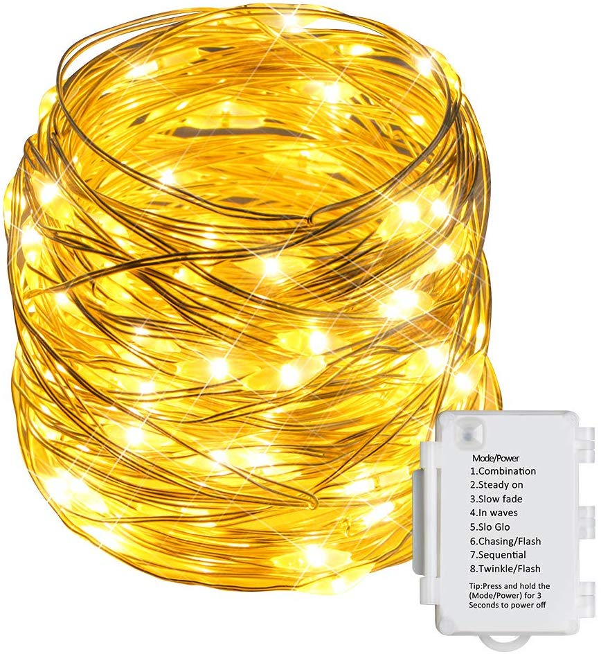 70% OFF STARKER 100 LEDs Fairy String Lights Warm White,10m Silver Wire