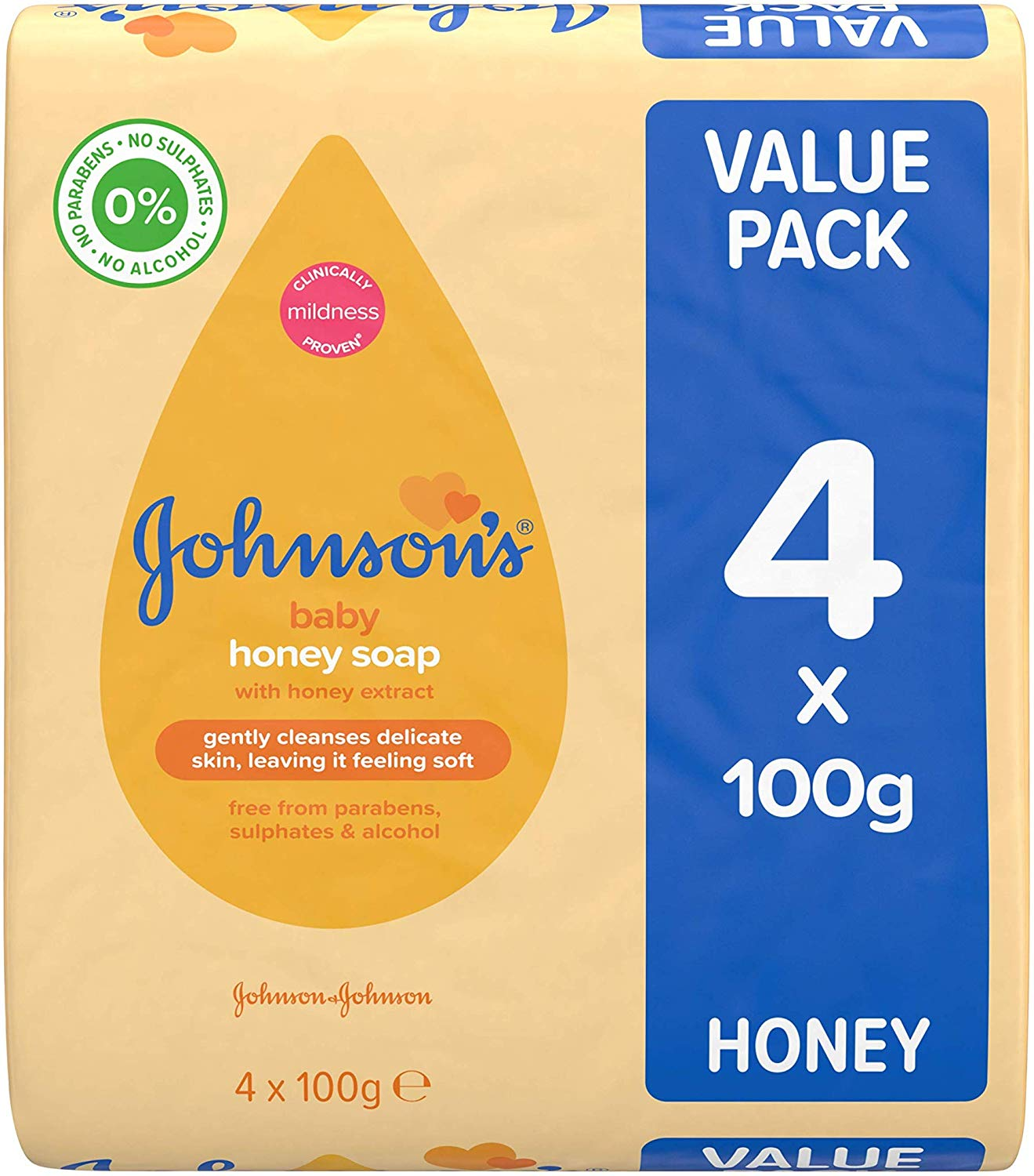 JOHNSON'S Baby Honey Soap 100g 4 pack for £1(add on item)