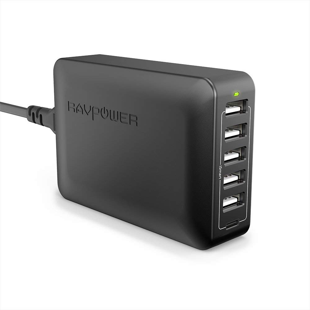 USB Chargers RAVPower 5V 3A 6-Port USB C Plug Fast Charger