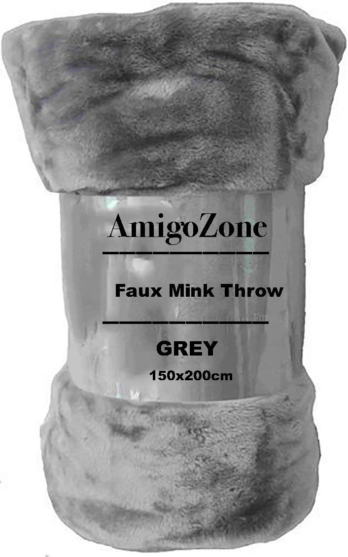 AmigoZone Soft Luxury Faux Fake Fur Mink Throw Sofa Bed Blanket (Silver Grey, Double)