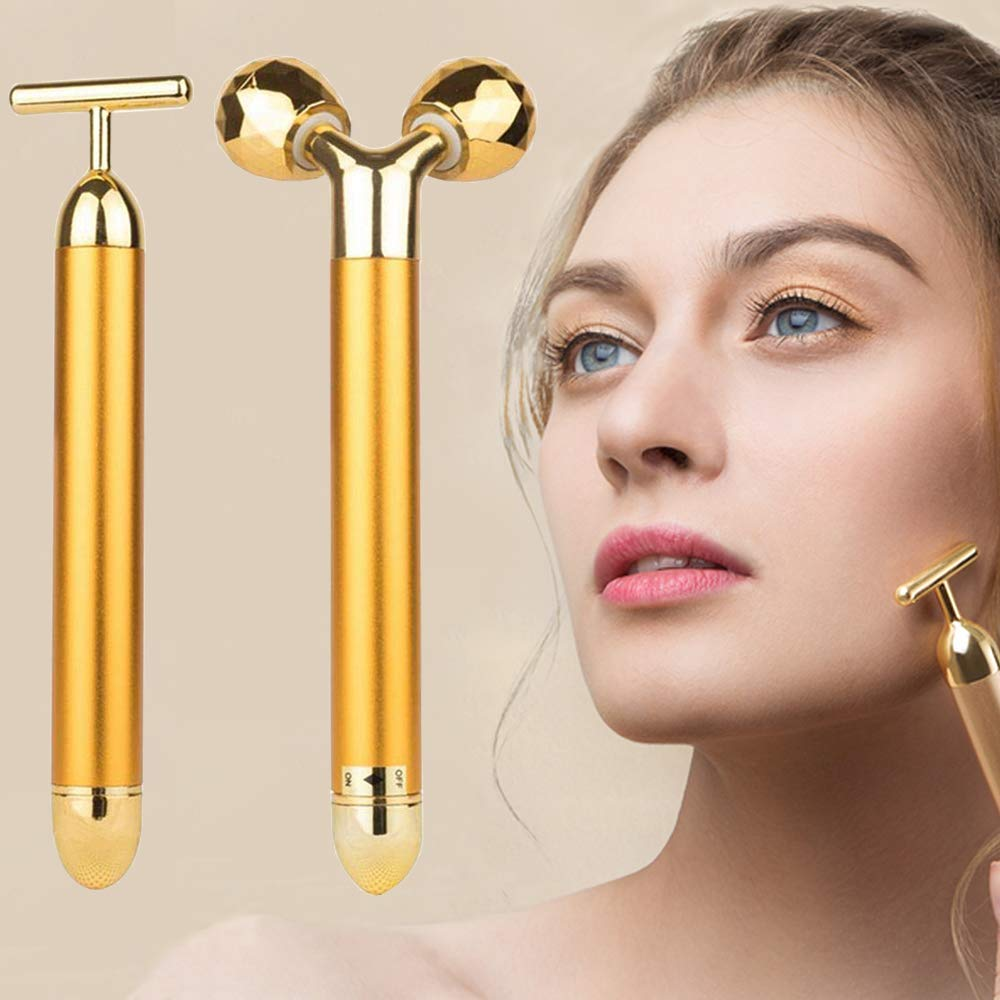 2-IN-1 Beauty Bar 24k Golden Pulse Facial Face Massager