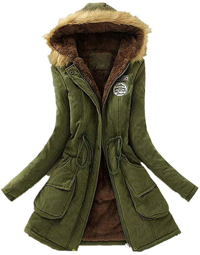 80% off Womens Winter Faux Fur Collar Lined Thicken Jacket