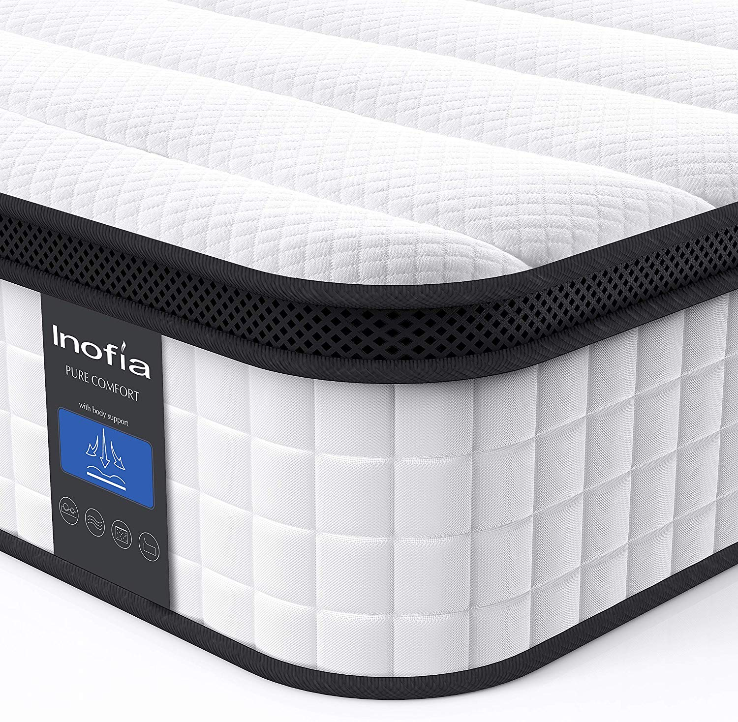 Inofia Double Memory Foam Sprung Mattress 10.6 Inch,4FT6Spring Mattress (135x190x27cm)
