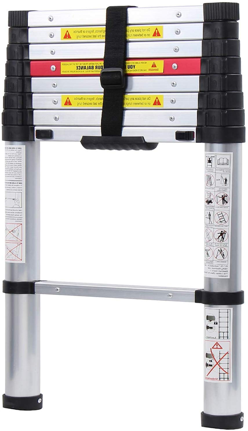 WolfWise 2.6M Telescopic Ladder with Newly ONE-Button Retraction System