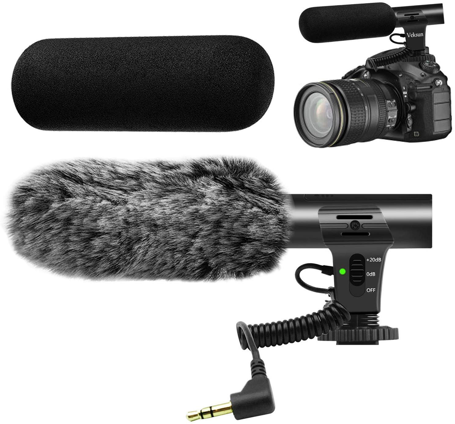 Camera Microphone,Veksun Video Microphone for Dslr Interview Videomic Shotgun Microphones