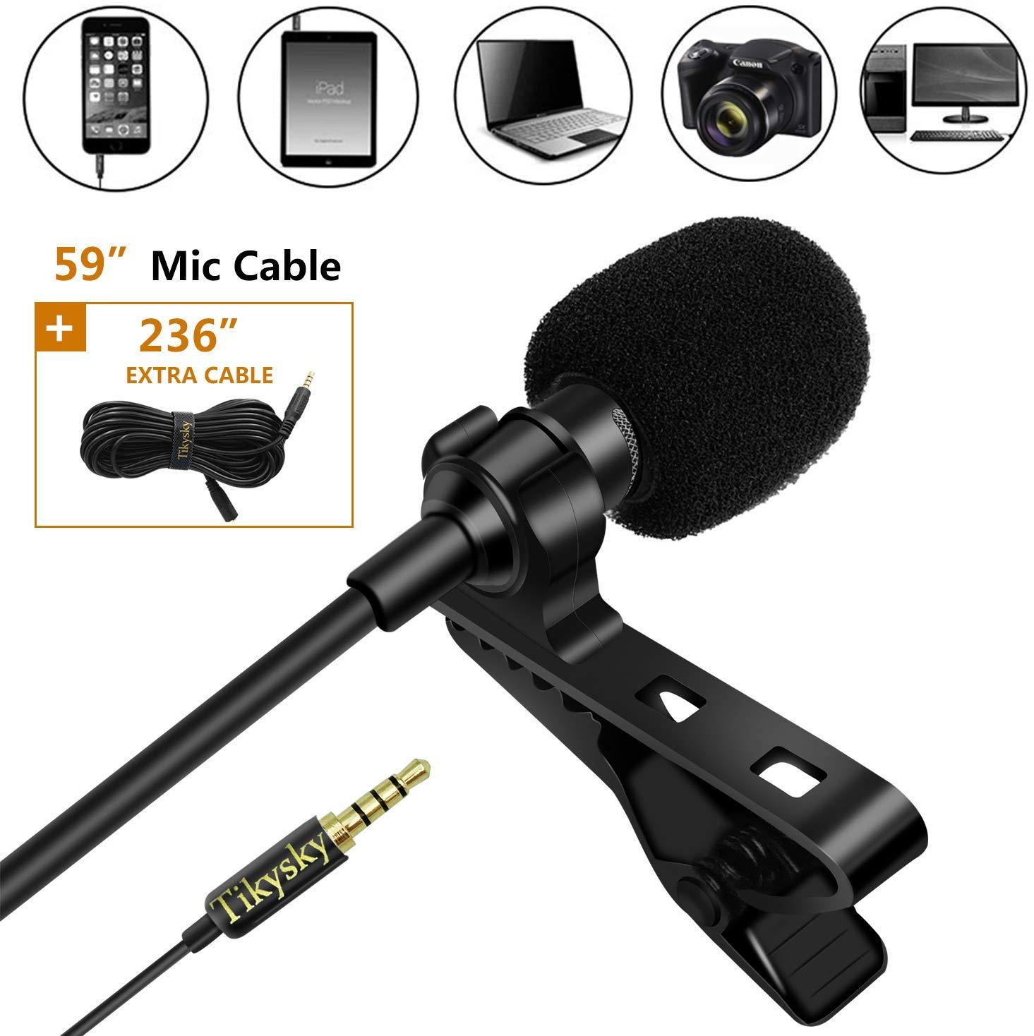 Lavalier Lapel Microphone,Tikysky Clip On Lav Mic