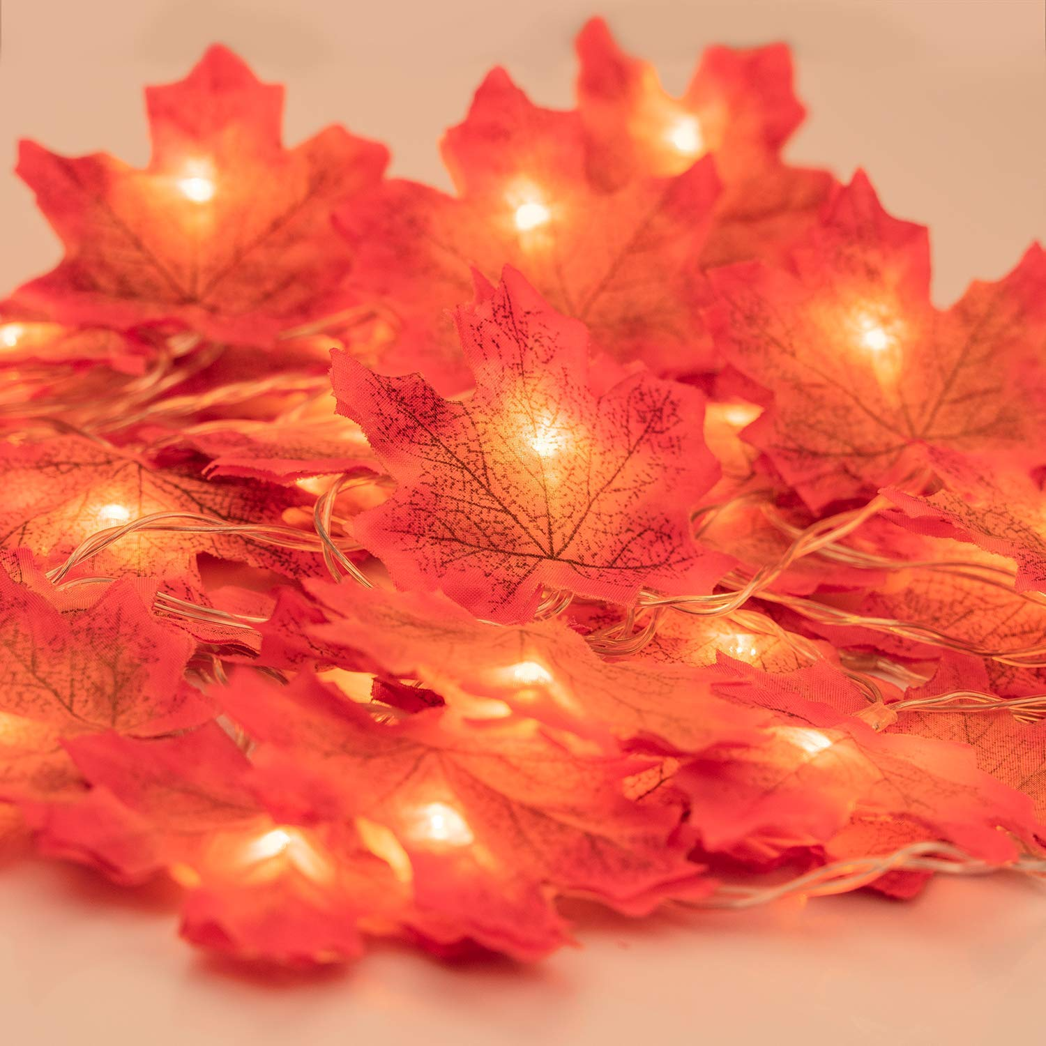 Fall Garland with Lights, Fall Maple Leaves String Light, 6.56ft /20 Led Maple Fairy Light