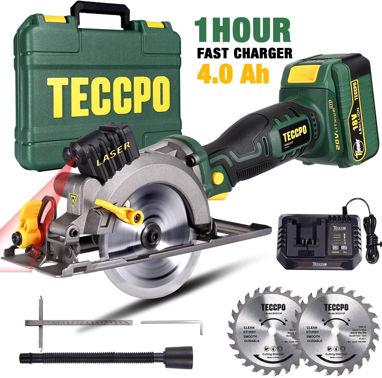 TECCPO 18V 4500RPM Laser Cordless Saw, 24T 115mm Blade