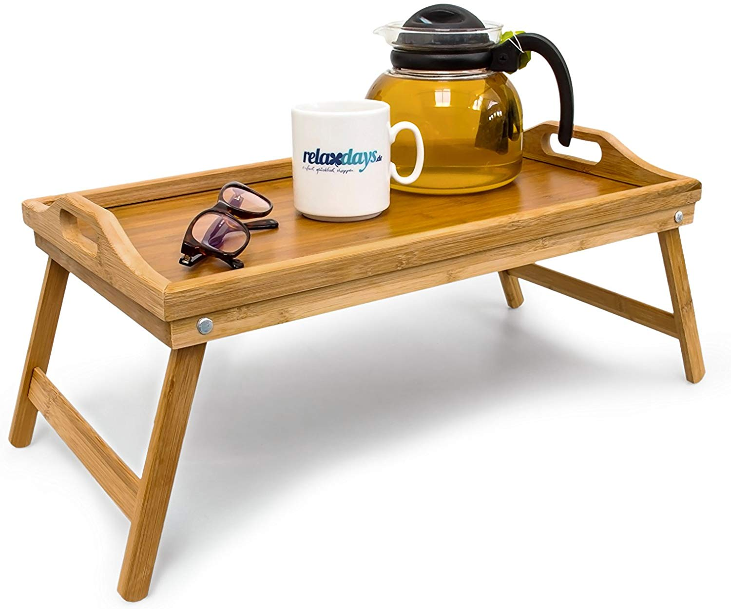 Relaxdays Bamboo Wooden Breakfast in Bed Tray, 21.5 x 47 x 27 cm