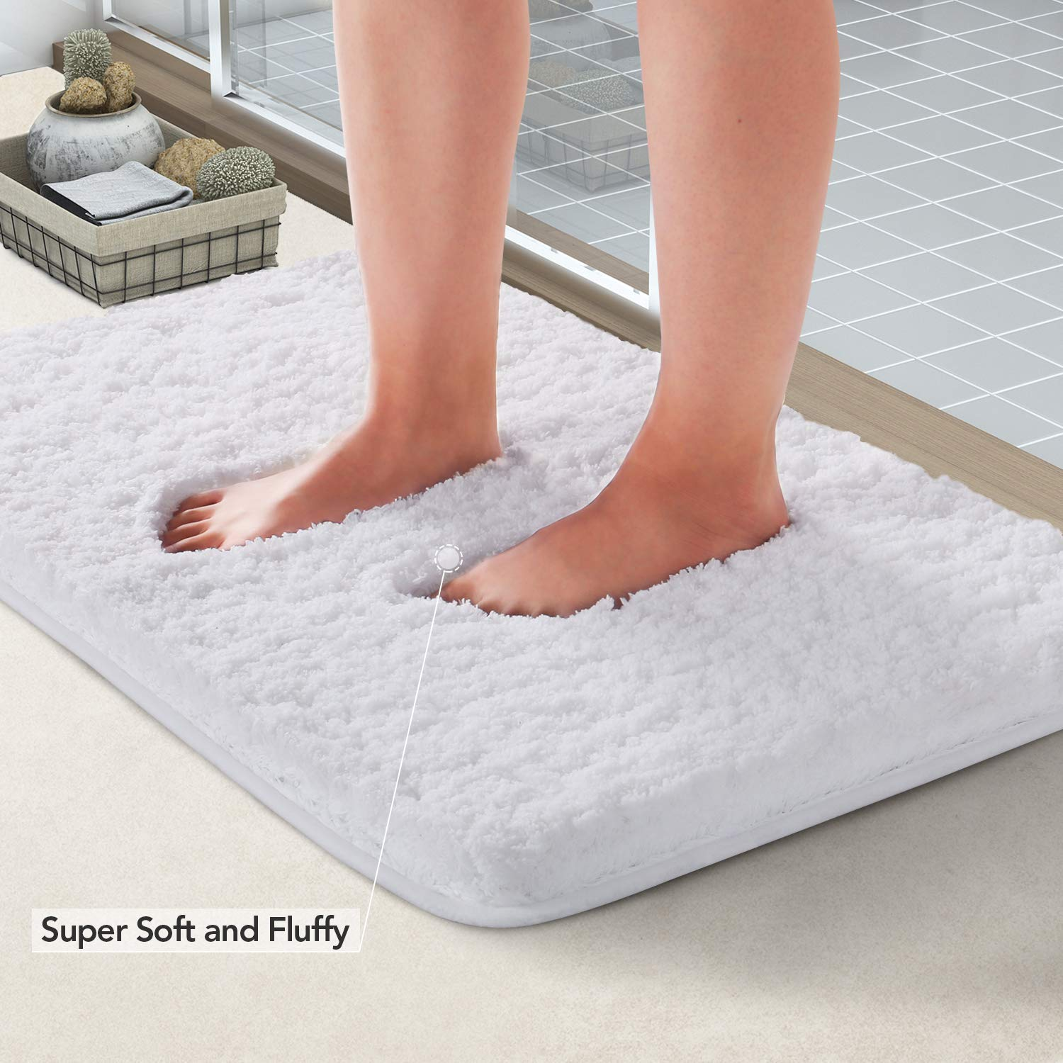Lifewit Bath Mat White, Microfiber Soft Shag Super Water Absorbent Non-Slip Rubber Bathroom Rug Thick