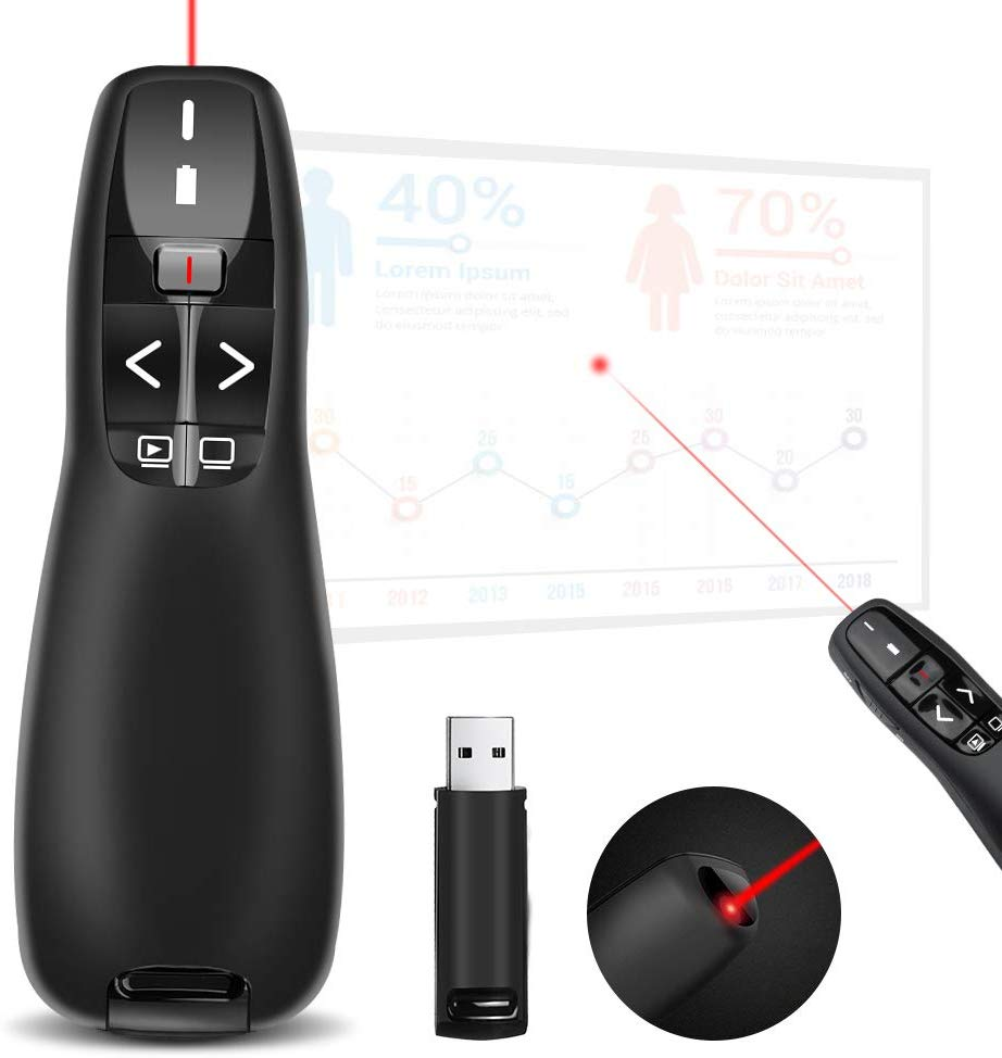 Doosl Wireless USB Presentation Clicker – Red Laser Pointer
