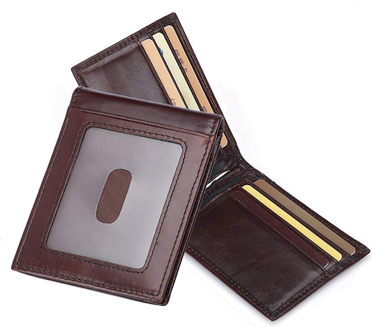 80% off Slim RFID Blocking Mens Gunine Leather Wallet with Money Clip