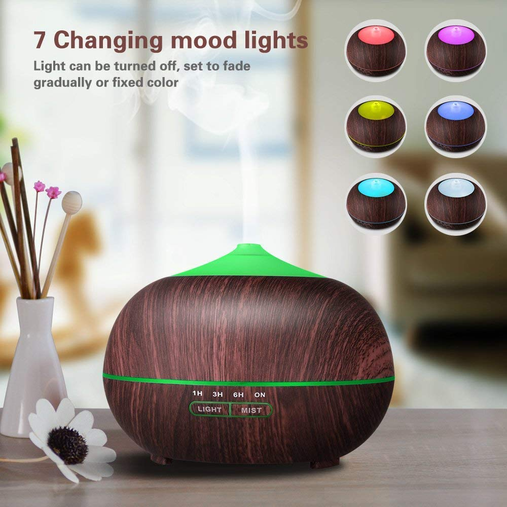 TENSWALL 400ml Wood Grain Essential Oil Diffusers Ultrasonic Humidifier Portable Aromatherapy Diffuser