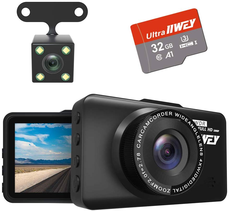 Dash Cam Front and Rear Camera FHD 1080P with Night Vision and SD Card Included, 3 Inch IPS Screen Dash Cam
