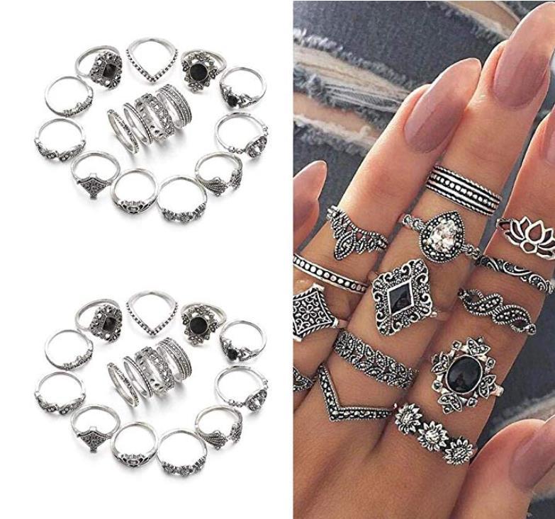 80% off  Women Fashion Retro Wedding Rhinestone Geometric Casual Ring Set Rings