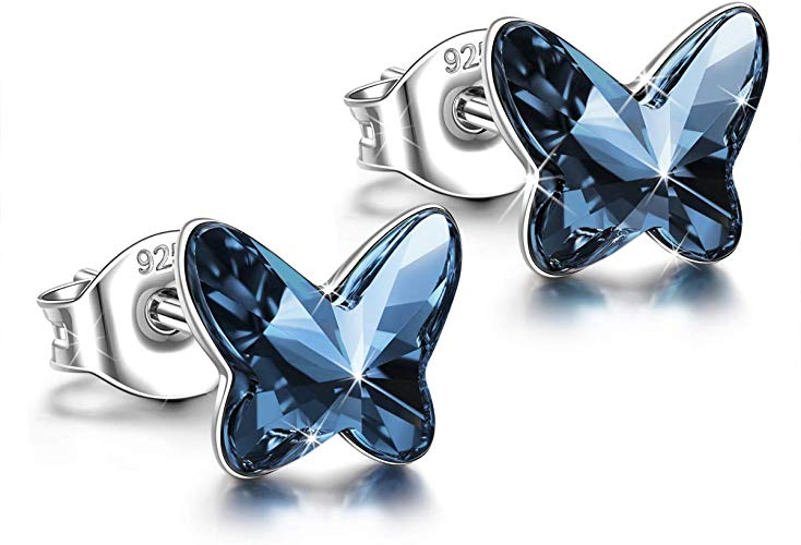 ANGEL NINA 925 Sterling Silver Swarovski Crystal Butterfly Earrings Gifts for Women