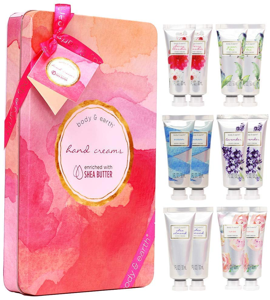 Hand Cream Gift Set, BODY & EARTH Hand Lotion Set for Dry Hands with Shea Butter, 12pc Travel-size