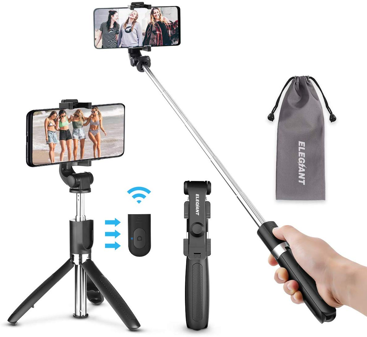 ELEGIANT Bluetooth Selfie Stick Tripod, Mini Extendable Selfie Stick with Wireless Remote and Tripod Stand 3 in 1 360 ° Rotation