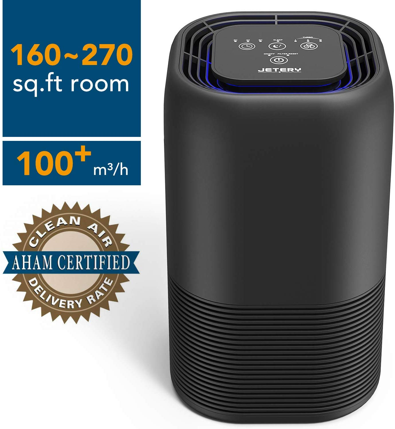 JETERY Air Purifier Home CADR 102 with True HEPA & Active Carbon Filters, 48W Air Cleaner with Night Light