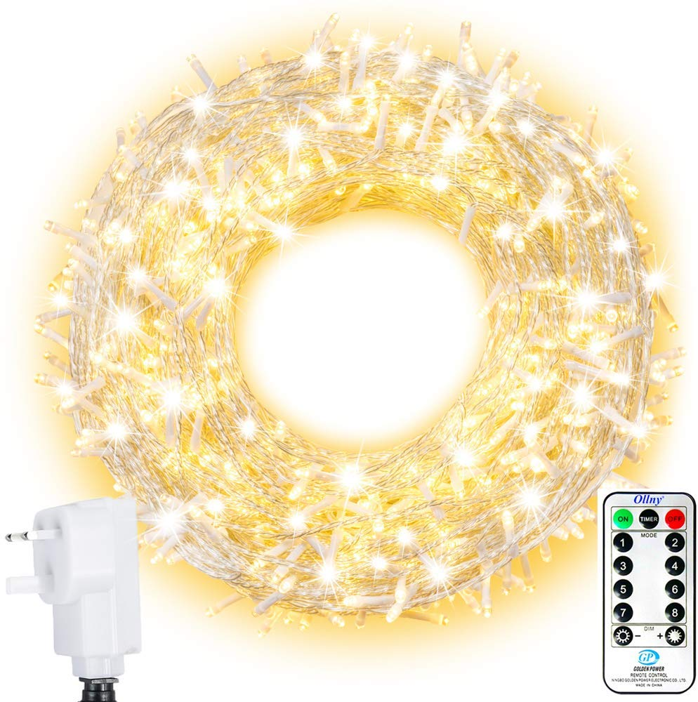 LED Outdoor String Lights Ollny 800 LEDs 100m, 8 Lighting Modes Plug in Warm White
