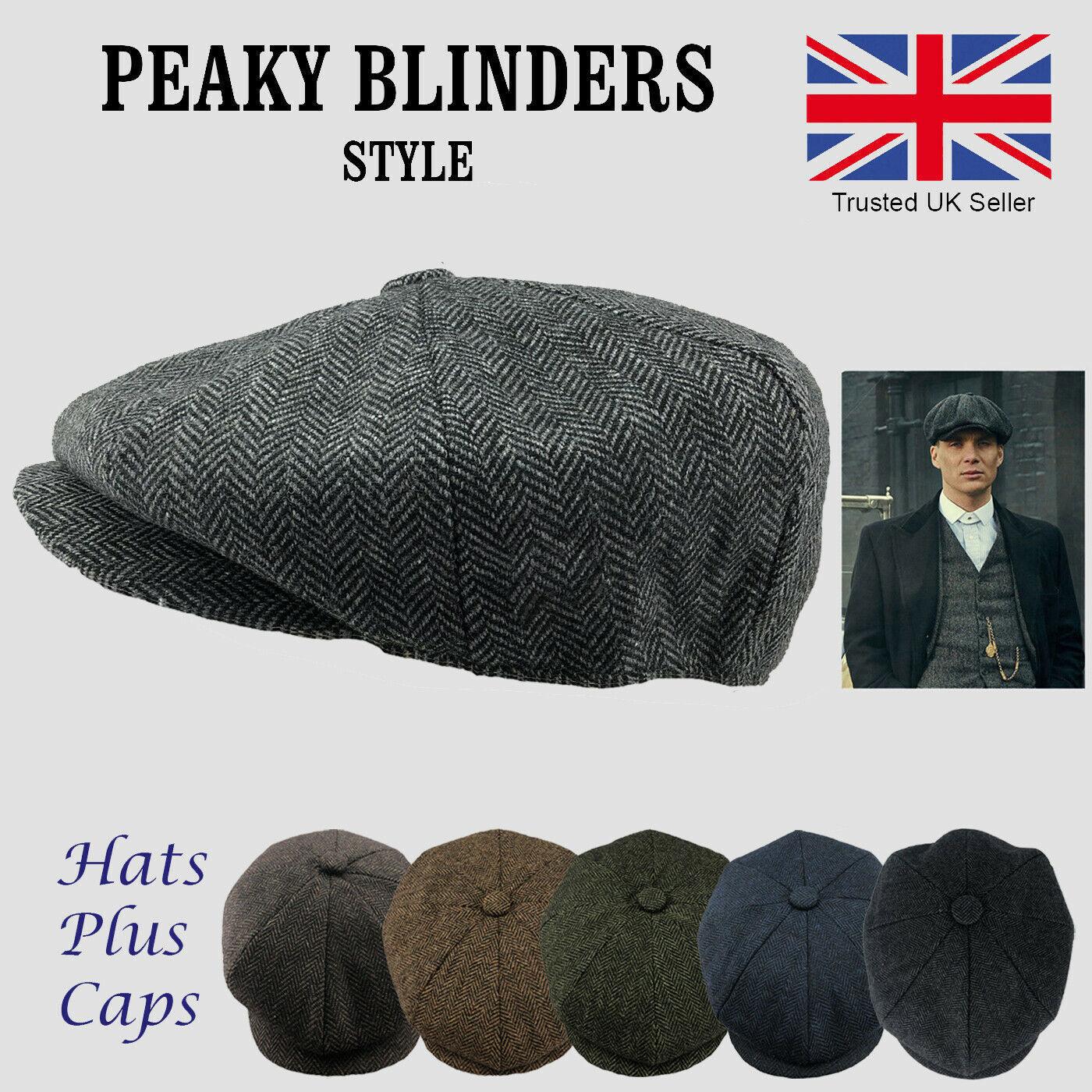 Peaky Blinders Style Hat Newsboy Flat Cap Herringbone Tweed Wool From £9.99