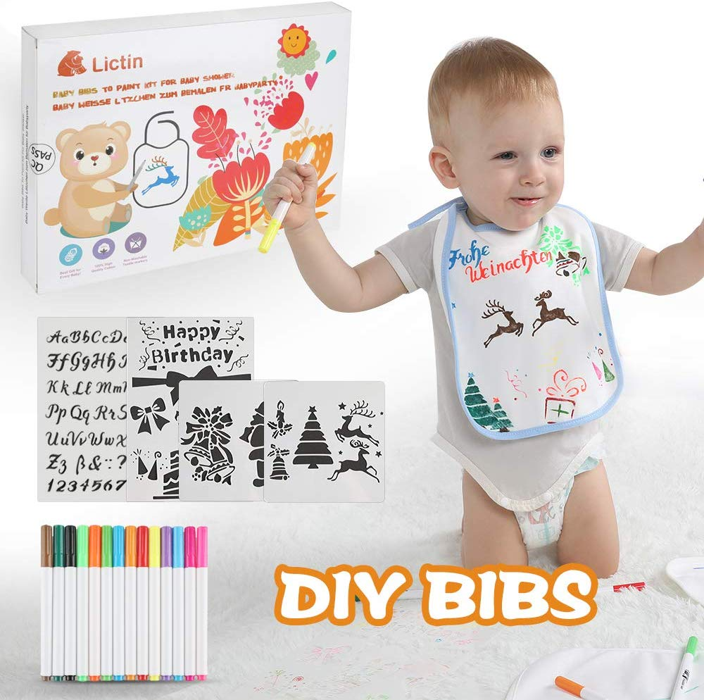 Lictin DIY Baby Bibs Set – 10Pcs White Cotton Waterproof Bibs for Drawing with 14Pcs Textile Marker Pens and 4Pcs Painting Template
