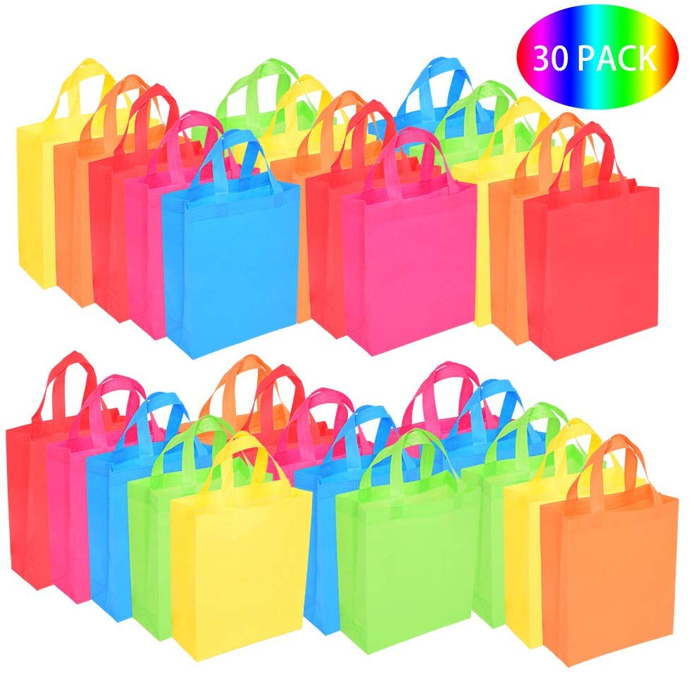 BOENFU 30 Pcs Halloween Party Bags with Handles Non-Woven Gift Tote Bags