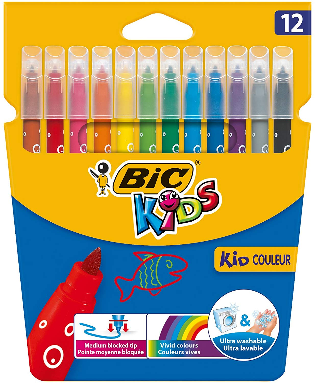 BIC Kids Kid Couleur Felt Tip Colouring Pens – Assorted Colours, Cardboard Wallet of 12
