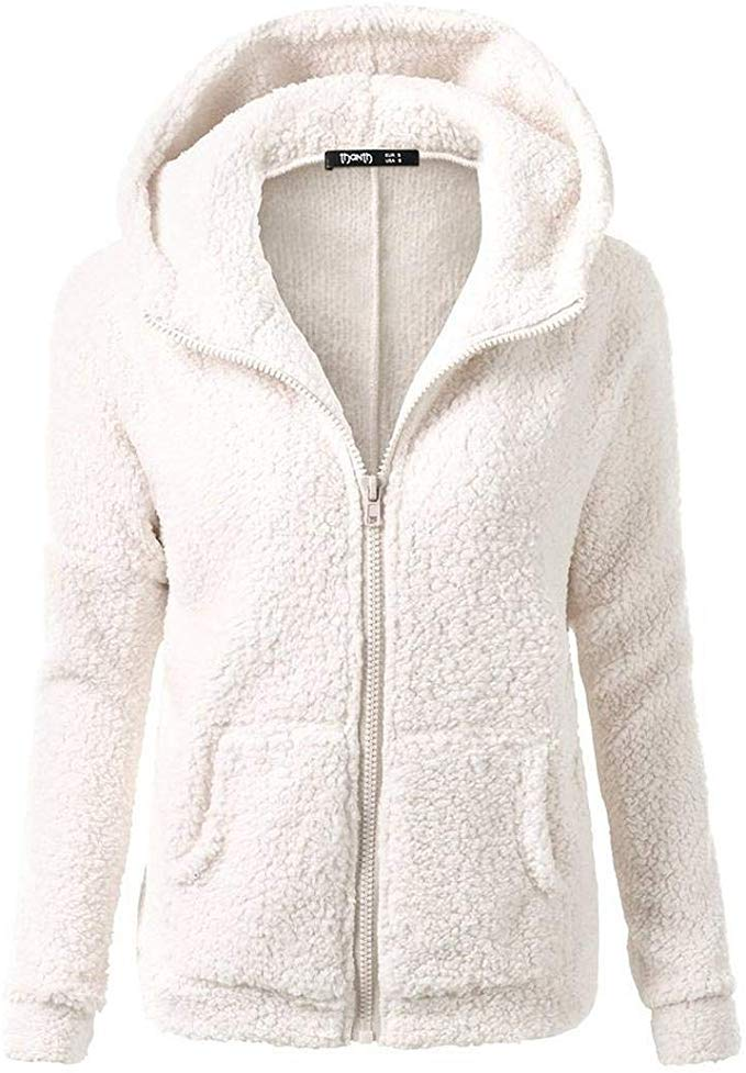 80% off Women Fashion Solid Long Sleeve Hooded Front Zipper Plush Sweatshirt Coat Cardigans