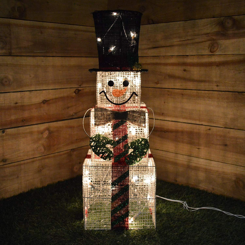 Indoor Square Snowman Christmas Light Figure Decoration – 75 Centimetre Tall