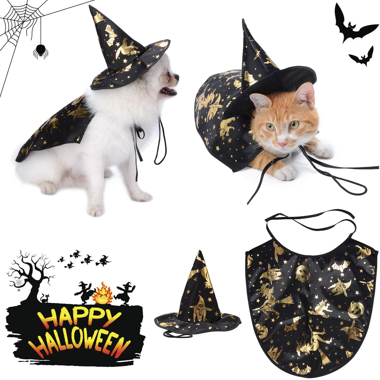 Halloween Pet Apparel Party Costume with Witch Hat on Amazon